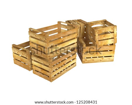 Empty wooden crates on white background. 3D image