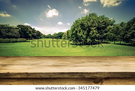 Empty wooden deck table with green park outdoor with blue sky cloud background. Ready for product display montage.