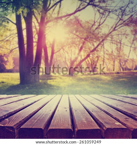 Empty wooden deck table with park scenery background. Ready for product display montage. - stock photo