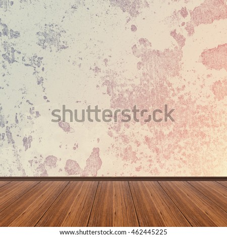 Empty wooden floor over grunge cement wall vintage background, template display