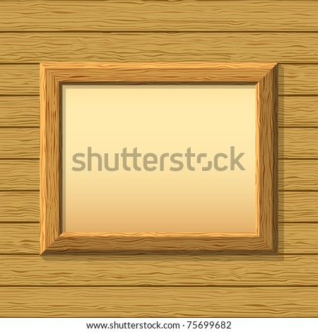 empty wooden frameworks on a board wall. For your images or text