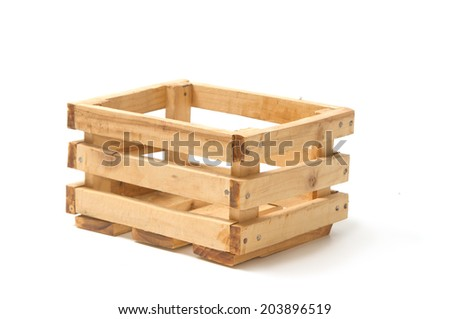 Empty wooden fruit crate - stock photo