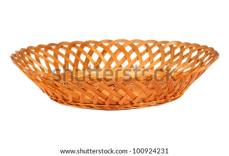 Empty wooden  fruit or bread basket  isolated on white background - stock photo