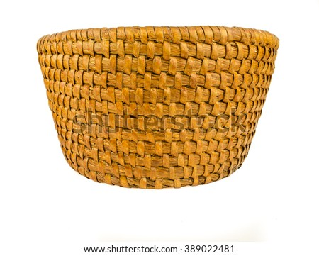 Empty wooden fruit or bread straw basket on white background / Empty wicker basket isolated on white / vintage weave wicker basket isolated on white background - stock photo