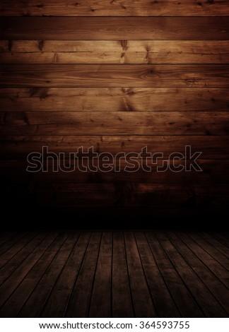 empty wooden inteiror room. - stock photo