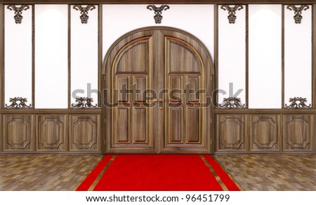 empty wooden interior with a red carpet. - stock photo