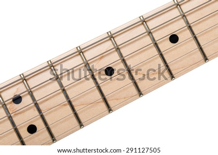 Empty wooden maple fingerboard of classic shaped electric guitar closeup isolated on white background with clipping path. Free frets and strings as improvisation concept - stock photo