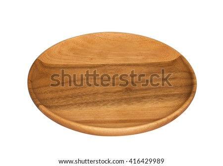 Empty wooden plate on white background