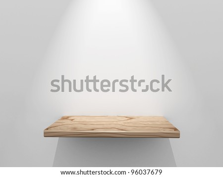 Empty wooden shelf - stock photo
