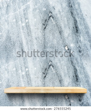 Empty Wooden shelf at blue stone wall,Template mock up for display of product,business presentation. - stock photo