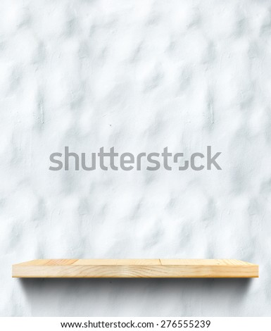 Empty Wooden shelf at concrete wall,Template mock up for display of product,business presentation. - stock photo