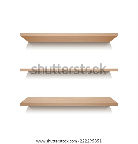 Empty wooden shelf for exhibit on white wall background.