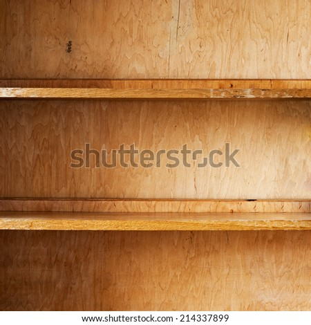 Empty  wooden shelf, part of cupboard background - stock photo