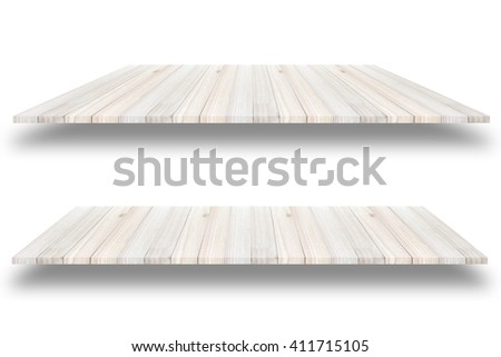 Empty wooden  shelf wall isolated on white background, For present your products. - stock photo