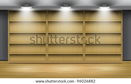 Empty wooden shelves, illuminated by searchlights. - stock photo