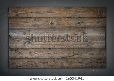 Empty wooden sign, concrete wall background texture - stock photo