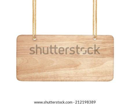 empty wooden sign hanging on a rope on white background - stock photo