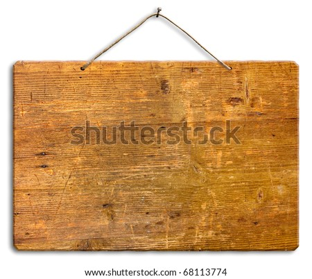 empty wooden signboard hanging with string and nail, blank wood notice board, isolated, clipping path - stock photo