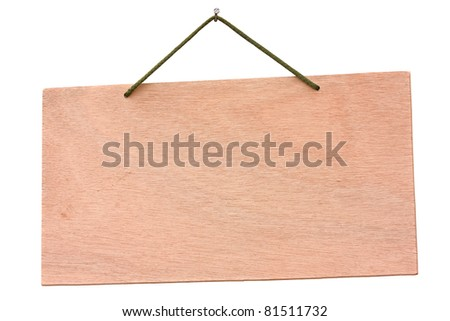 empty wooden signboard hanging with string and nail - blank wood notice board  isolated with clipping path - stock photo