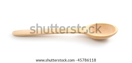 empty wooden spoon  on a white background - stock photo