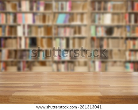 Empty wooden table and modern library background, product display - stock photo
