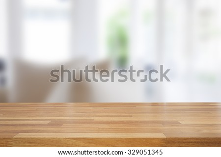 Empty wooden table and room interior decoration background, product montage display,window background  - stock photo