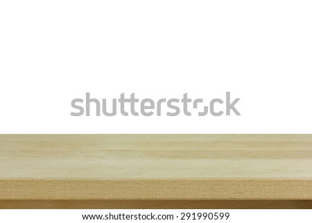 empty wooden table isolated on white - stock photo