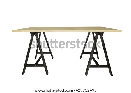 empty wooden table isolated on white backgroud for product display. With clipping path.