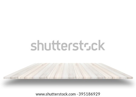 Empty wooden table or shelf wall isolated on white background, For present your products. - stock photo
