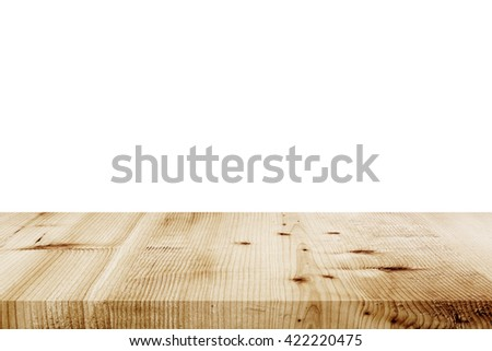 Empty wooden table top view. - stock photo