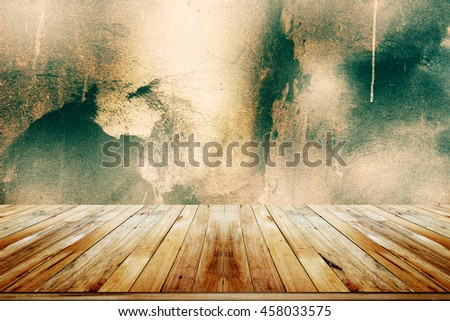 empty wooden  table with grey concrete wall