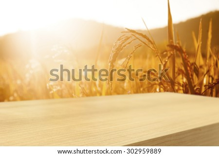 Empty  wooden table with wheat field background, product display montage - stock photo