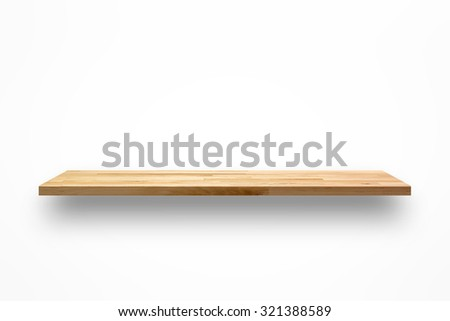Empty wooden wall shelf on white background