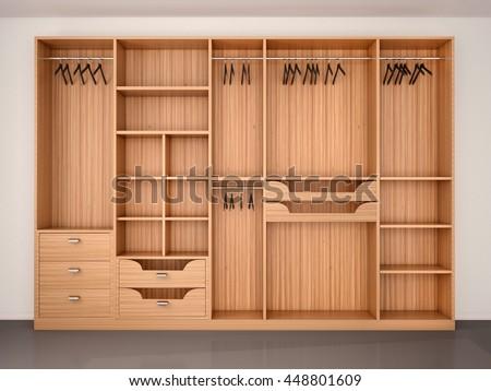 Empty Wooden Wardrobe Closet. 3d Illustration