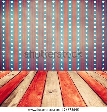 Empty wooden white table over USA flag background. Independence day, 4th of July background. Ready for product display montage. - stock photo
