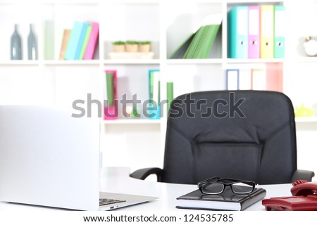 empty workplace at office - stock photo