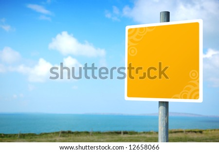 Empty yellow embellished Road Sign - stock photo