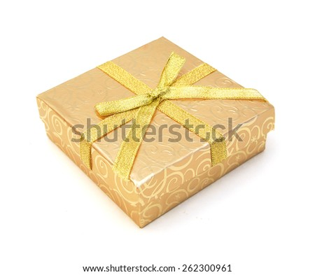 empty yellow gift box with lid on white background  - stock photo