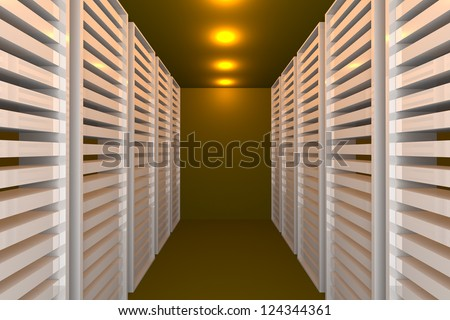 Empty yellow room for modern interior of server room in datacenter - stock photo