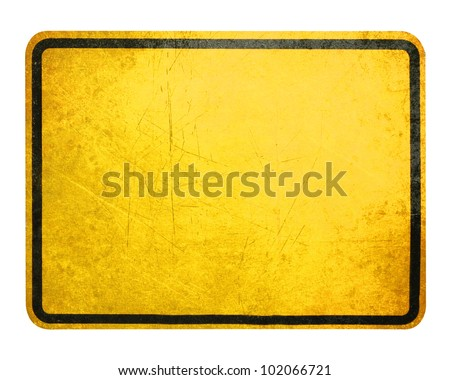 Empty Yellow Sign, attention and alert sign. - stock photo
