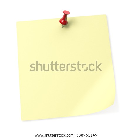 Empty yellow sticky note with Red Push Pin. 3D Rendering