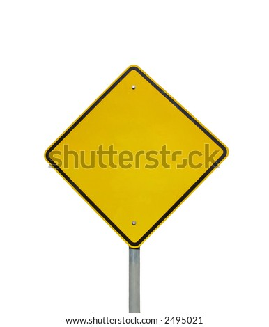 Empty yellow warning road sign (isolated on white)