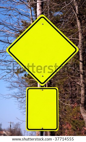 Empty yellow warning sign. Add any word you want - stock photo