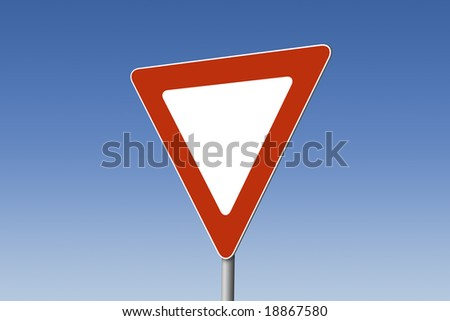 Empty yield sign - stock photo