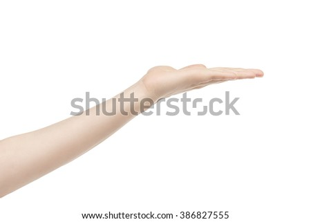 empty young female hand to hold something, isolated on white background - stock photo