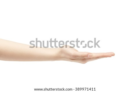 empty young female hand to hold something straight, isolated on white background