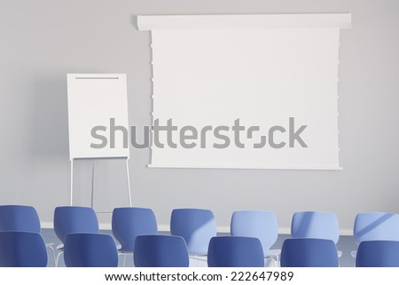 Empy white presentation canvas in a business meeting room - stock photo