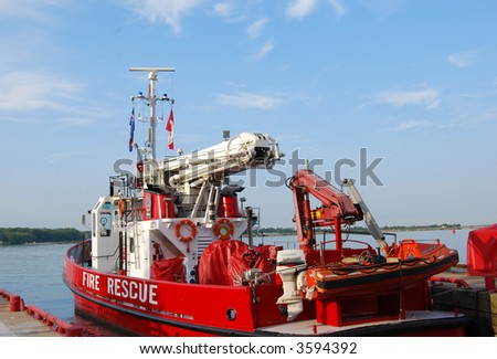 EMS Boat at harbour - stock photo