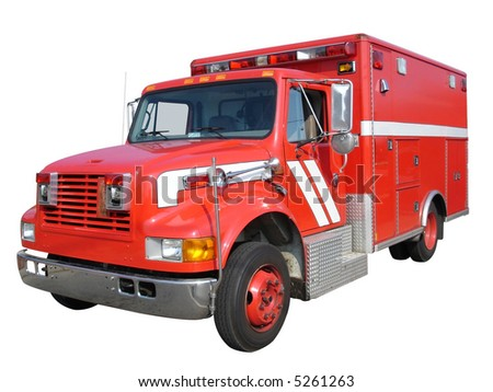 EMS vehicle on white with clipping path - stock photo
