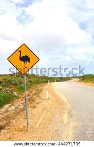 Emu warning sign in the Pinnacles desert, Western Australia - stock photo